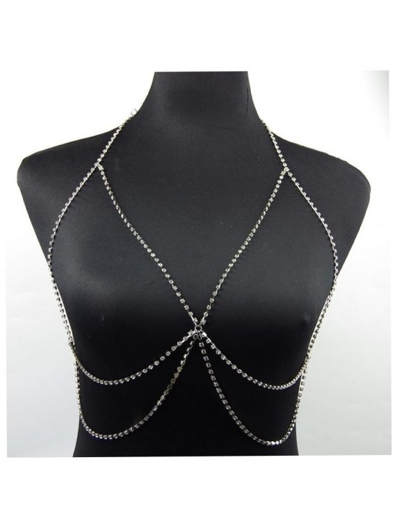 Silver Zircon Bra Body Chain By Femnmas