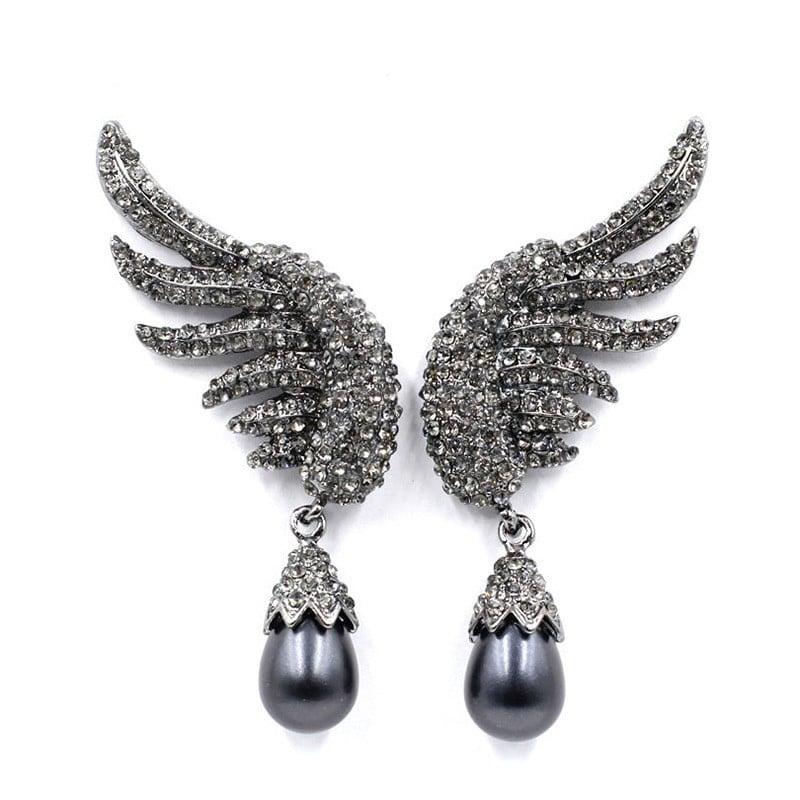 Black Zircon Designer Statement Earrings For Party