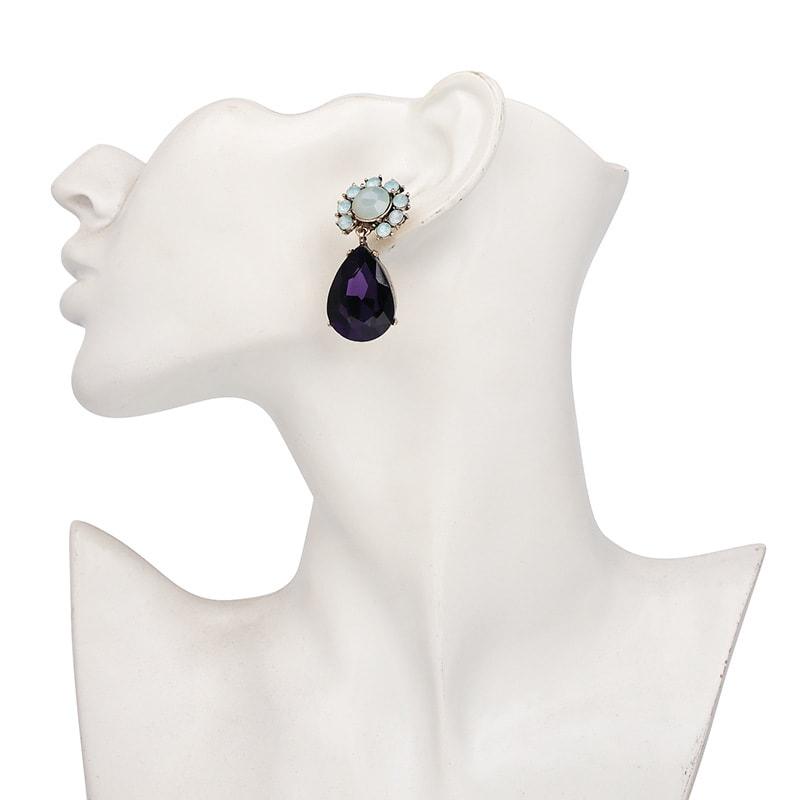 Purple Gemstone Party Earrings For Women