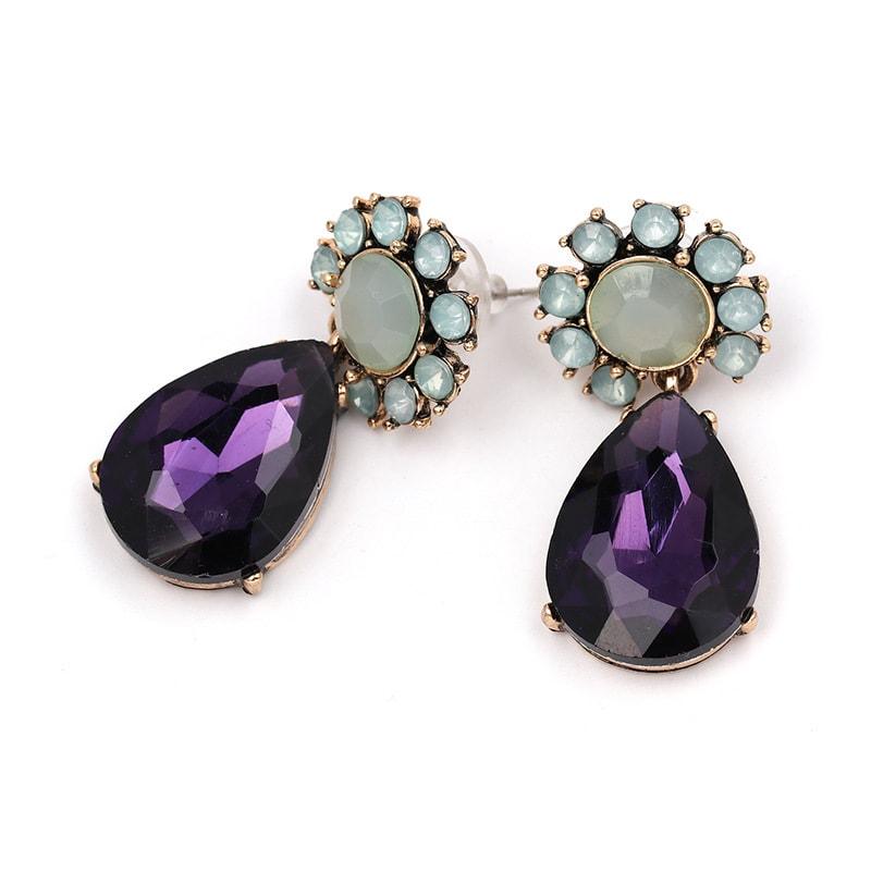 Purple Gemstone Party Earrings
