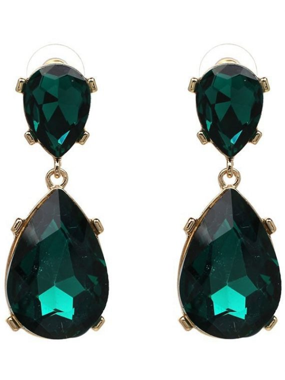 Green Gemstone Designer Statement Earrings For Women