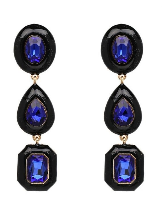 Blue Gemstone Designer Earrings For Girls