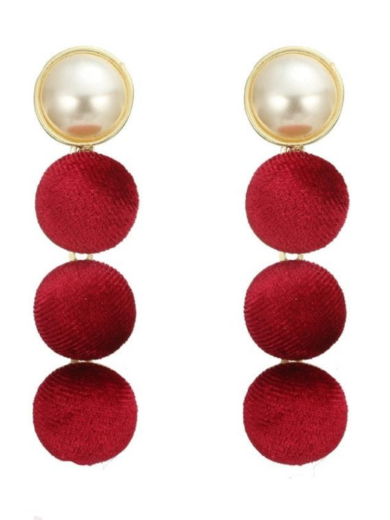 White Red Latkan Earrings For Girls