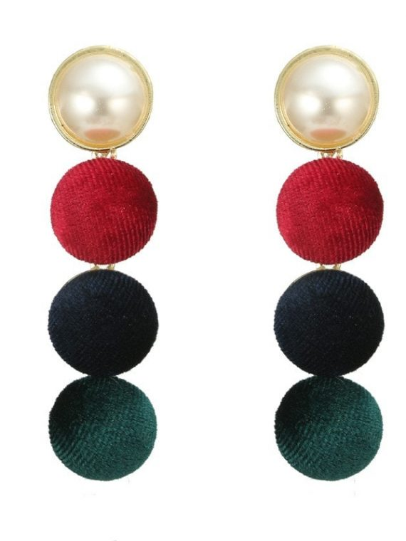 Green Red Bridal Earrings For Girls