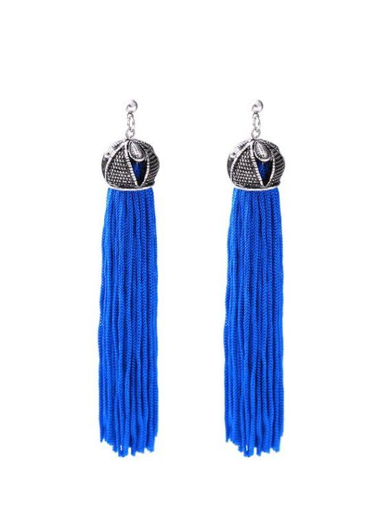 Blue Tassel Earrings For Girls By Femnmas