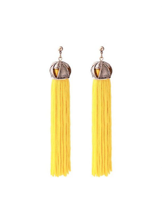 Yellow Ethnic Thread Earrings For Women By Femnmas