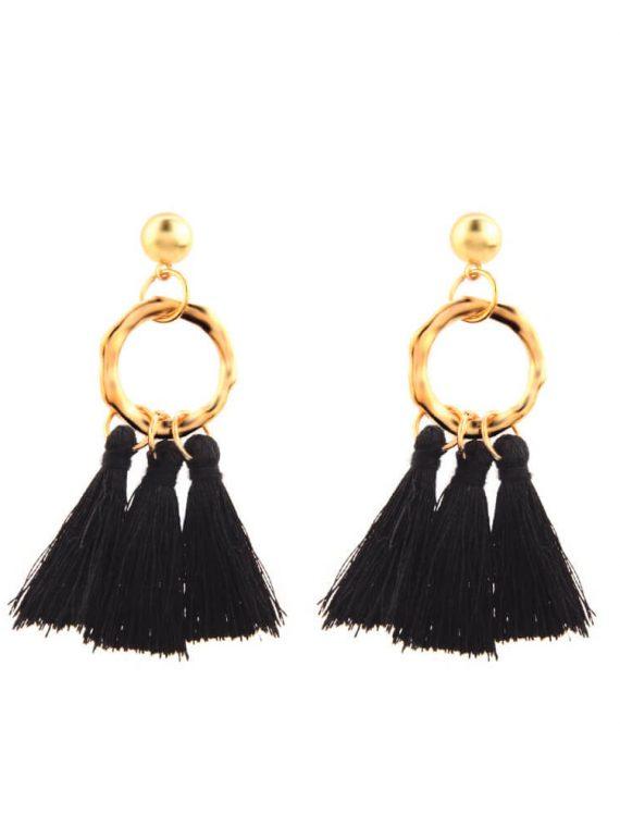 Black Tassel Designer Earrings For Girls