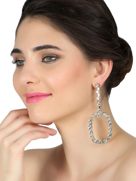 Long Circle Zircon Dress Earring