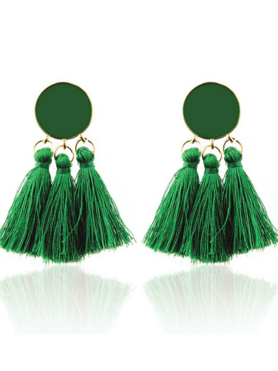 Green Thread Dress Earrings