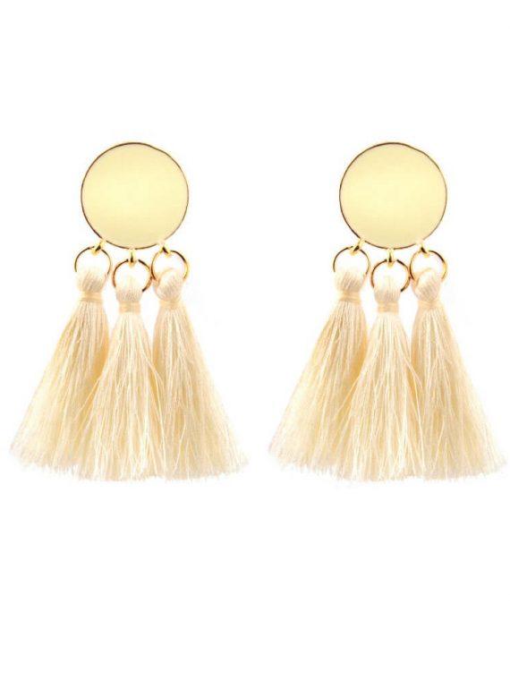 White Designer Thread Earrings By Femnmas
