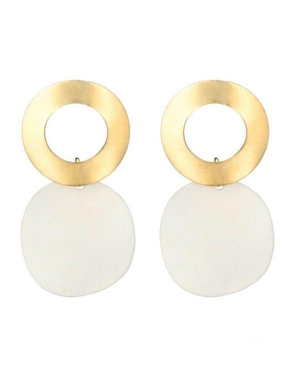 Gold and White Designer Earrings For Girls