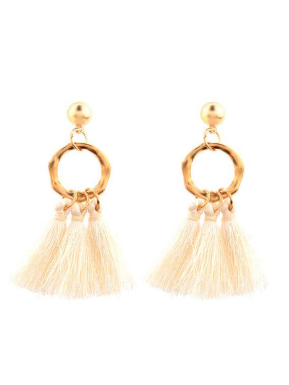 Golden White Tassel Earring By Femnmas