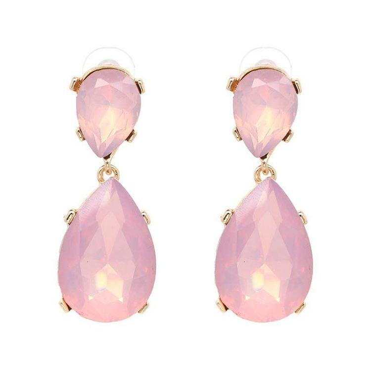 Pink Gemstone Fashion Earrings For Women