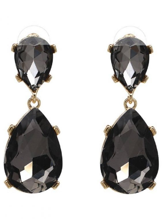 Black Gemstone Earrings For Women