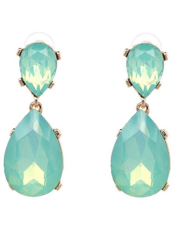 Green Gemstone Stone Studded Earrings For Women