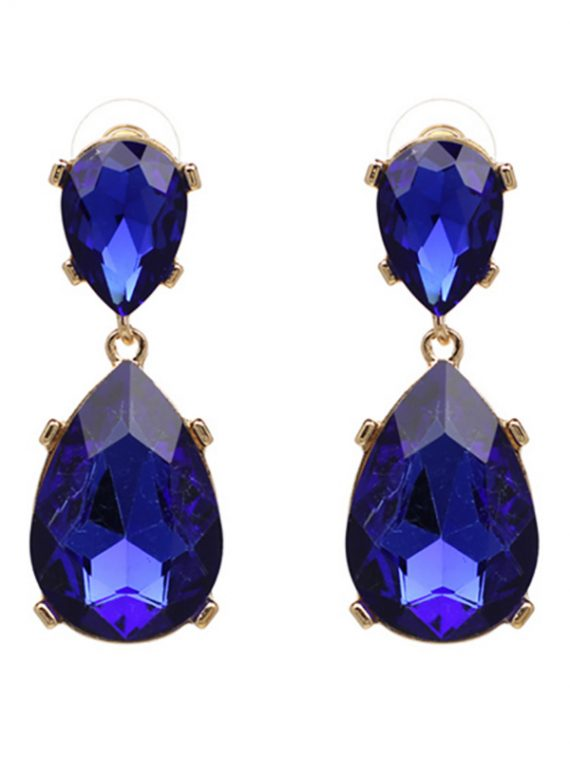 Royal Blue Stone Party Earrings By Femnmas