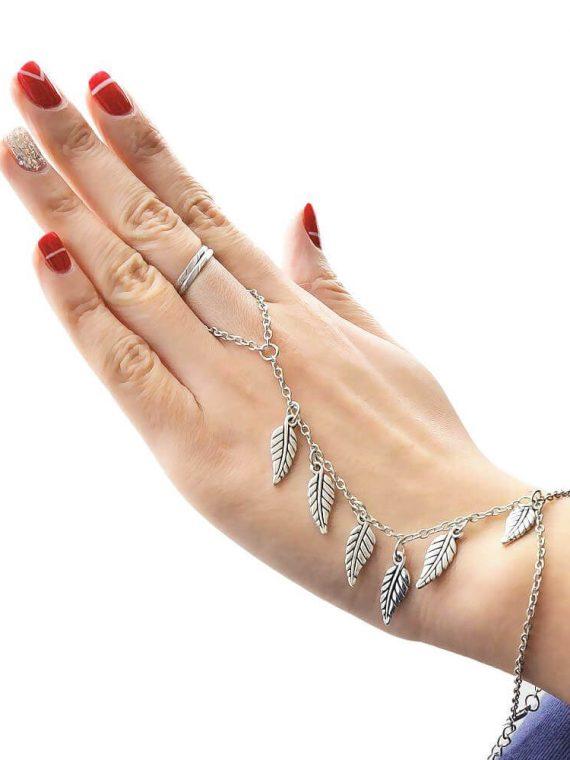Silver Leaf Bracelet By Femnmas