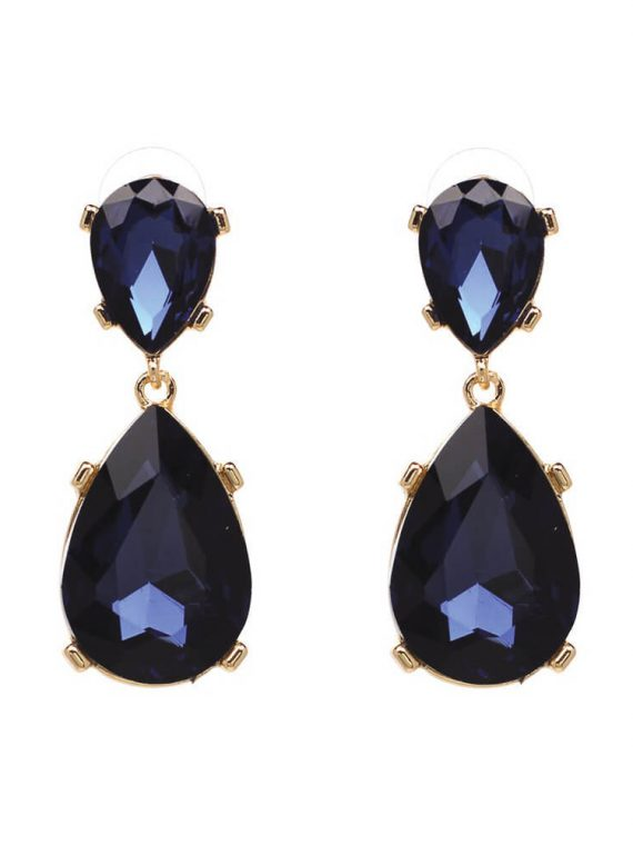 Blue Big Zircon Earrings By Femnmas