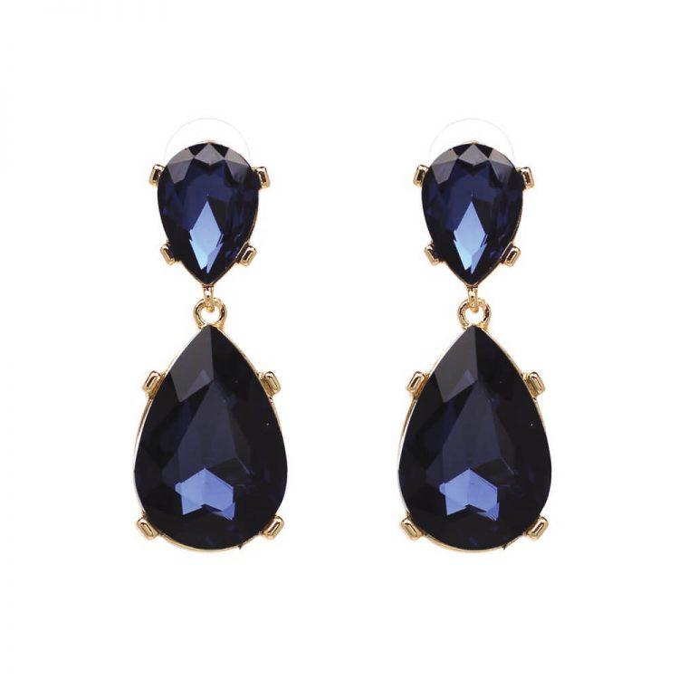 Blue Big Zircon Earrings By Femnmas