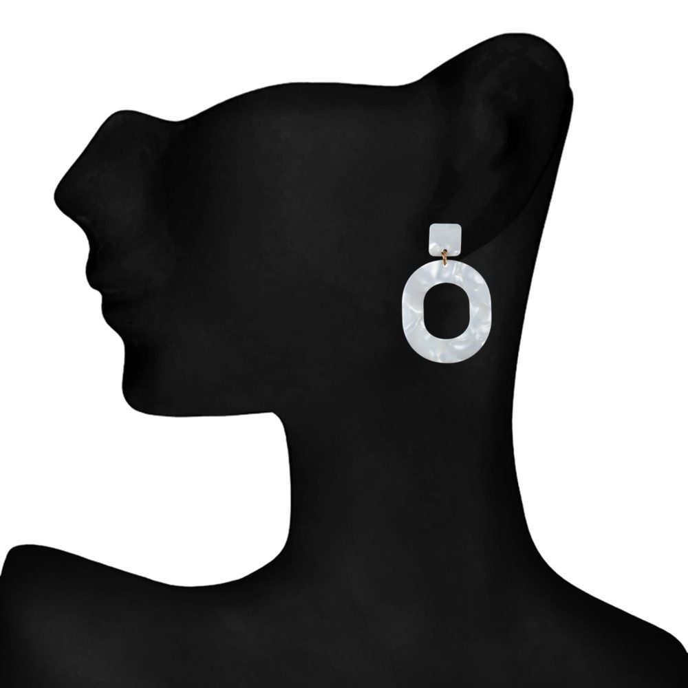 White Statement Earrings For Girls