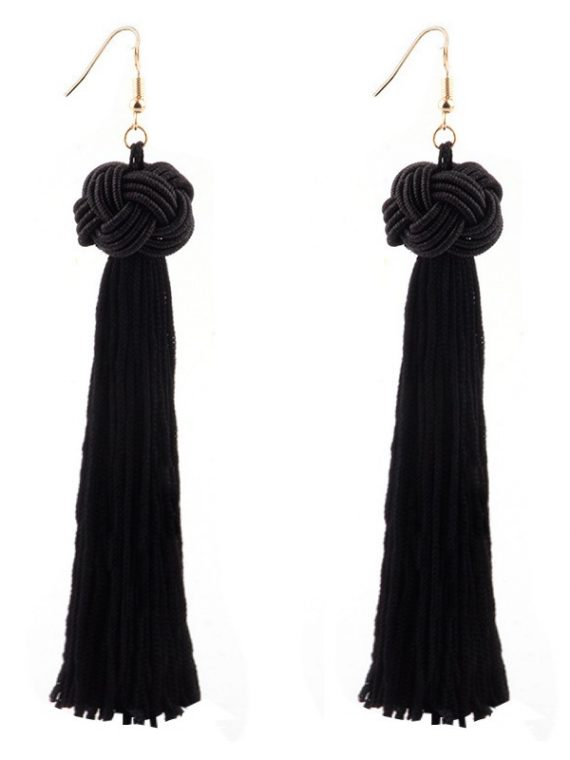 Black Knots Tassel Earrings For Girls