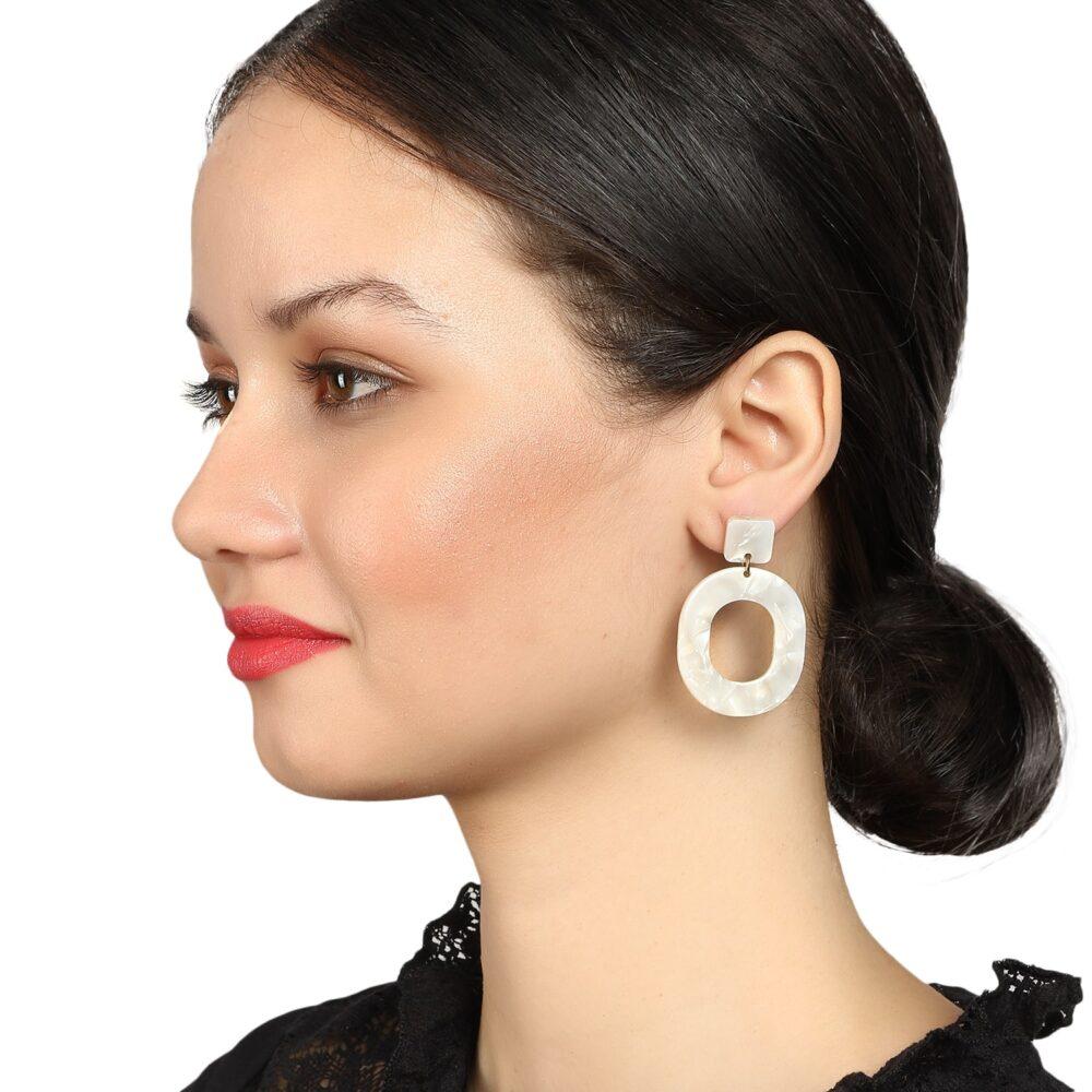 White Marble Drop Earrings by Femnmas
