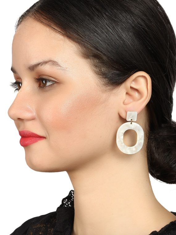 White Marble Drop Earrings by Femnmas