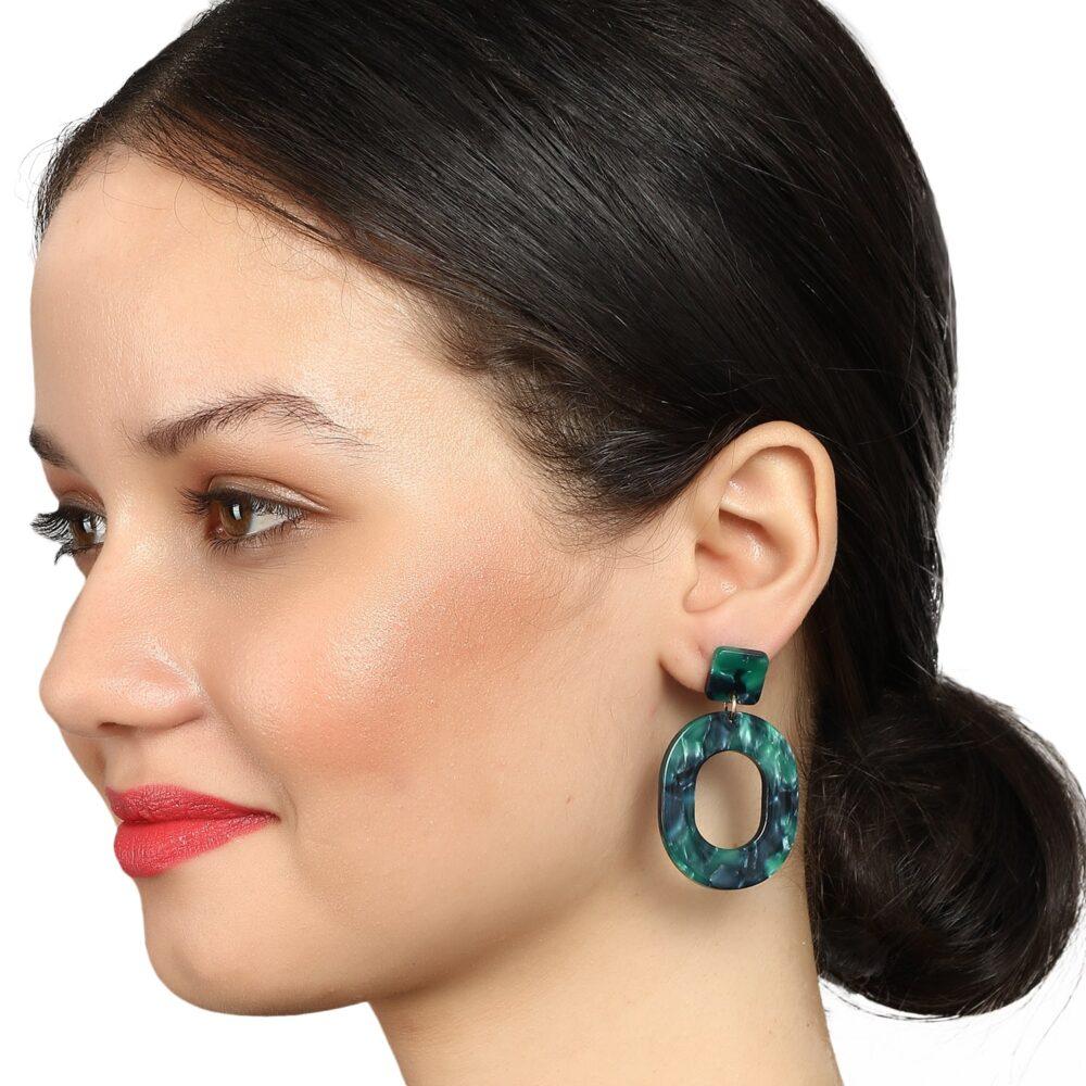 Green Marble Drop Earrings By Femnmas