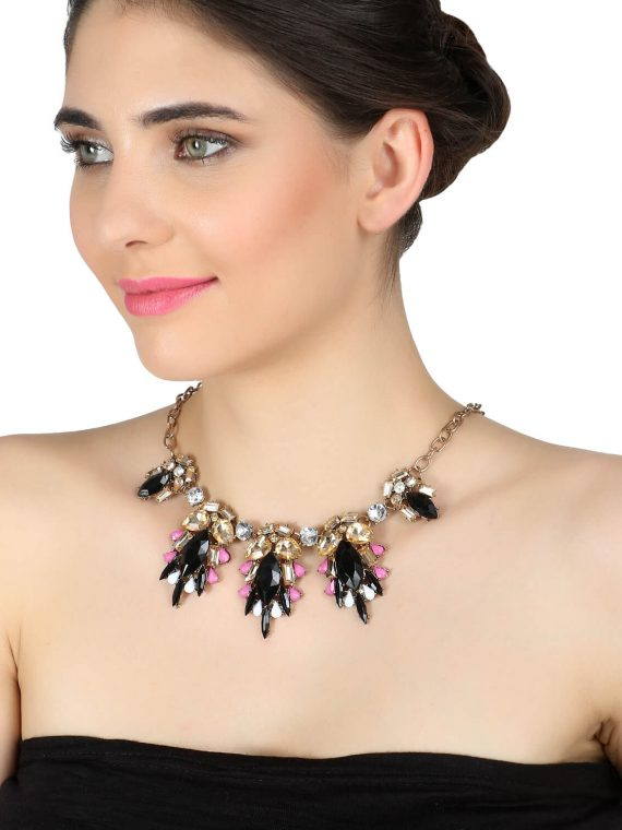 Black Gemstone Party Necklace