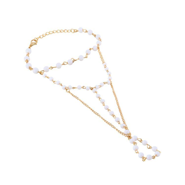 Designer Pearl Bracelet With Ring By Femnmas