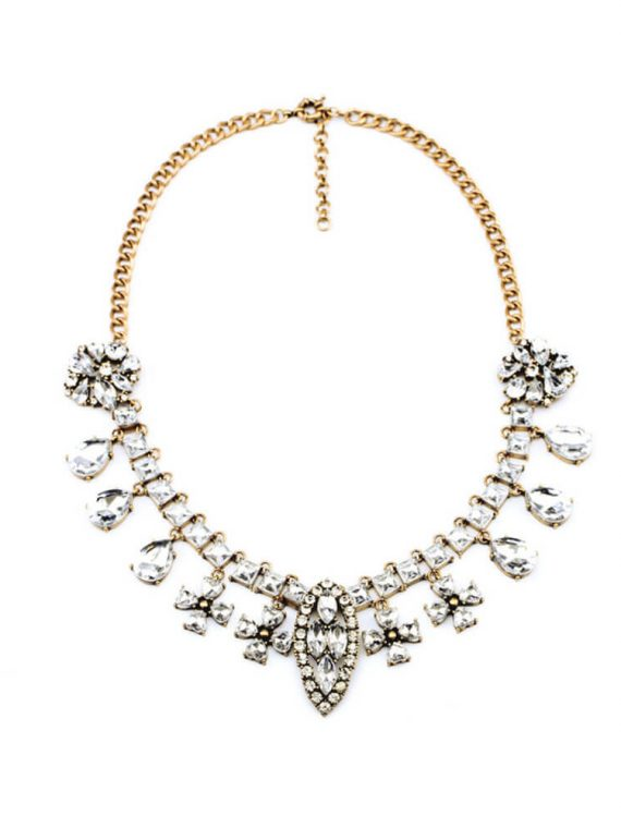 Crystal Silver Designer Necklace For Girls