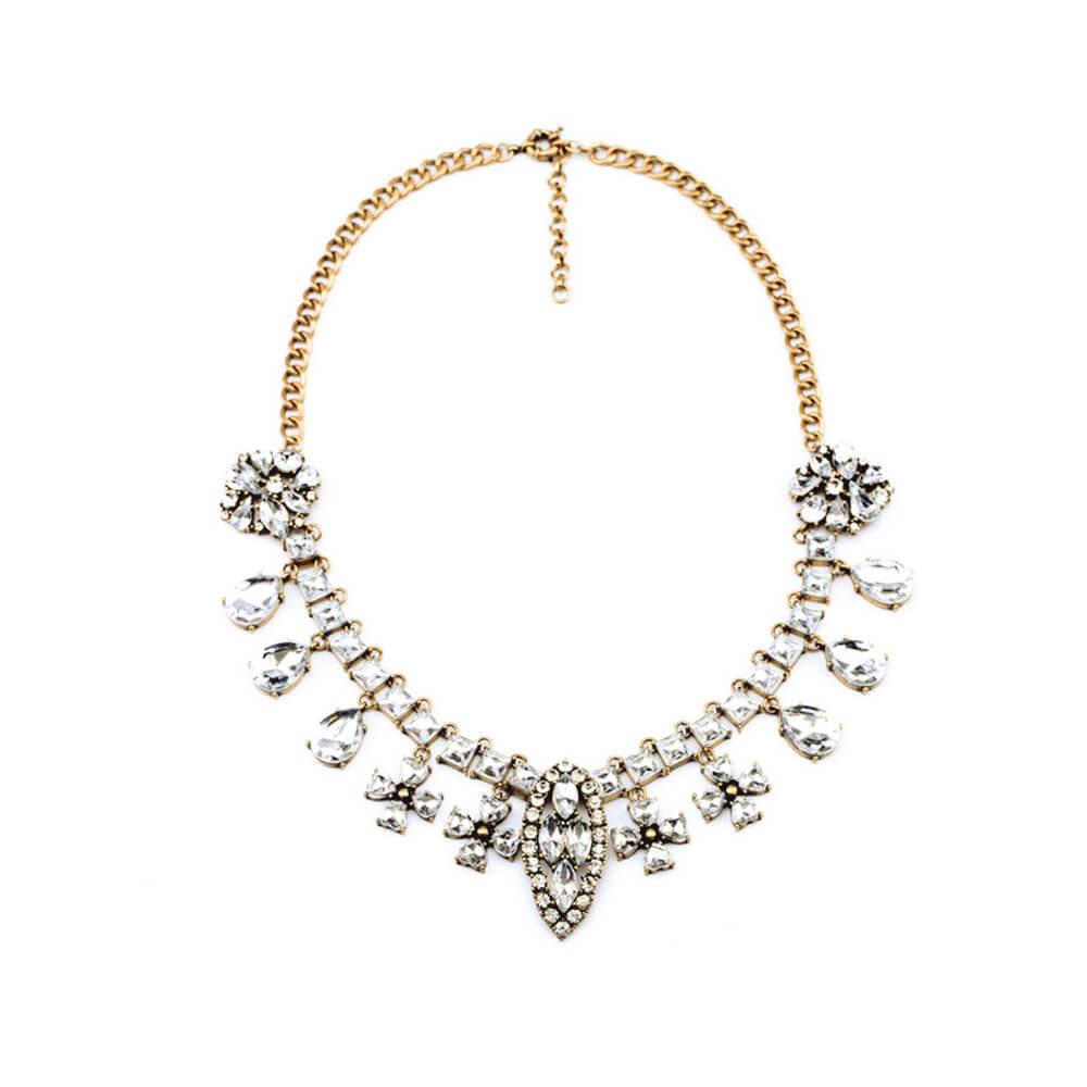 Crystal Silver Designer Necklace For Girls