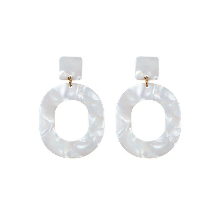 White Marbel Earrings