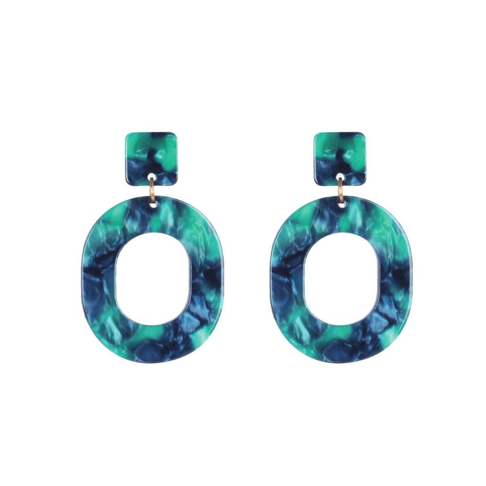 Green Designer Marble Look Earrings For Girls