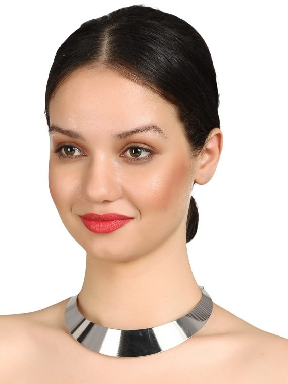 Silver Plate Choker Necklace By Femnmas