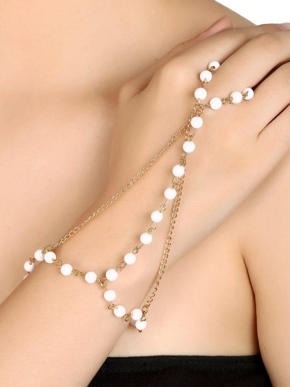 White Multi Tassel Designer Bracelet By Femnmas