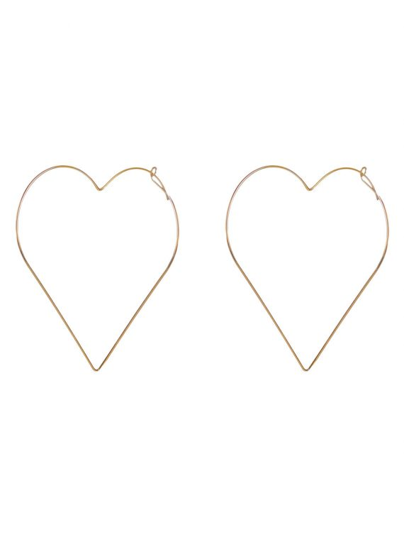 Golden Big Heart Earrings by femnmas
