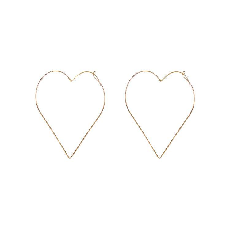 Golden Big Heart Earrings by femnmas