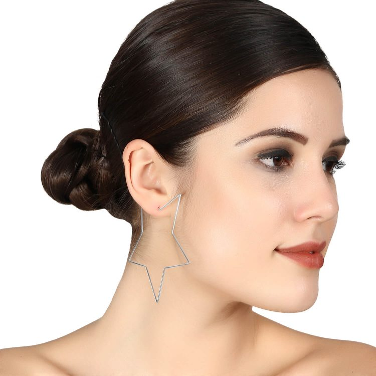 Silver Star Big Earrings by femnmas