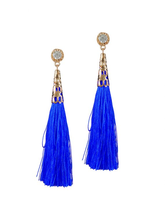 Blue Thread Drop Earrings by Femnmas