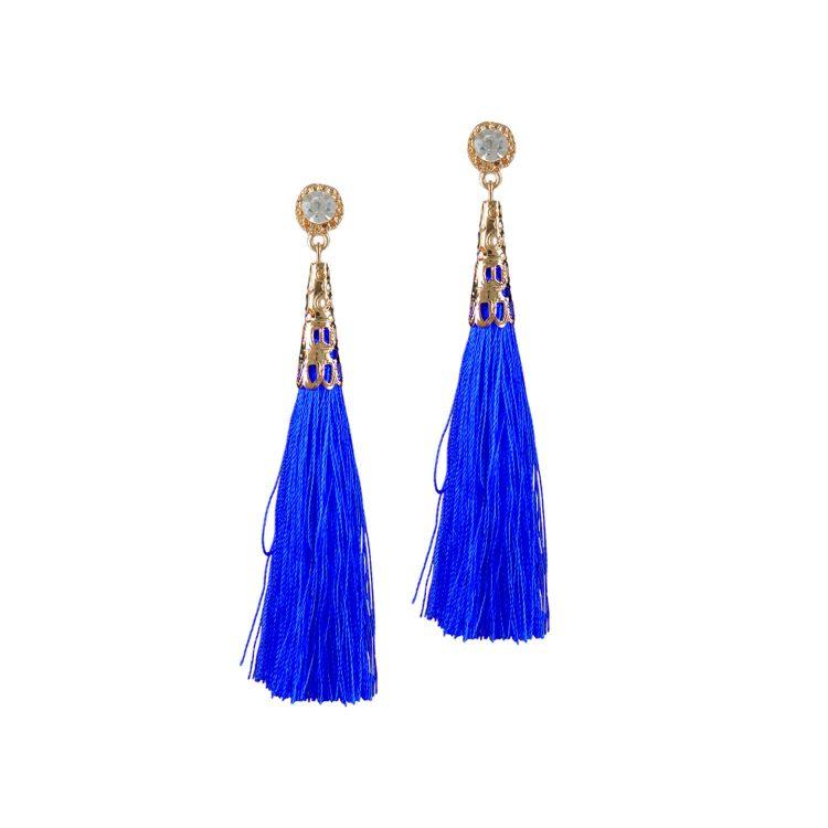 Blue Thread Drop Earrings by Femnmas