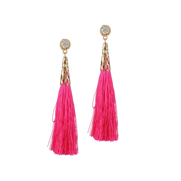 Pink Thread Party Earrings For Girls By Femnmas