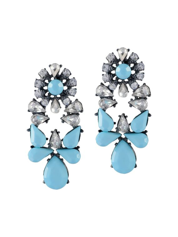 Light blue stone studded Earrings by femnmas