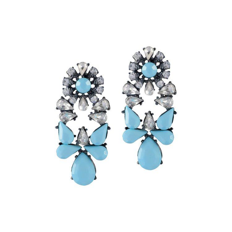 Light blue stone studded Earrings by femnmas