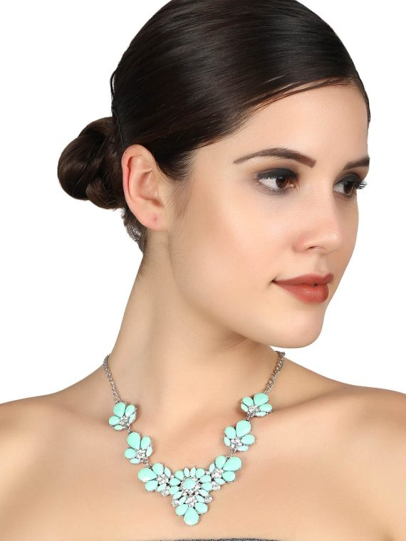 Green Flower Necklace for Women