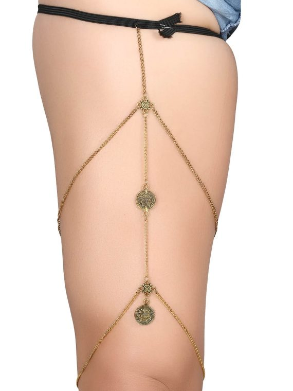 Golden Multi Coin Leg Chain By Femnmas