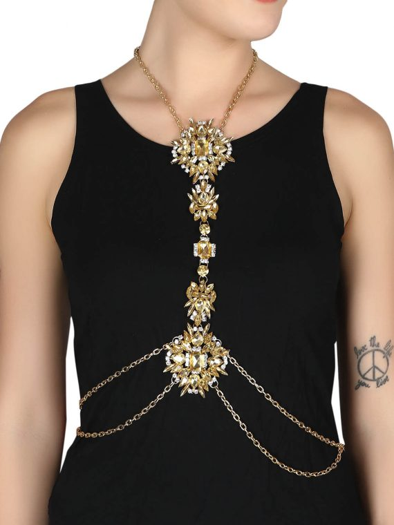 Golden Stone Studded party body chain