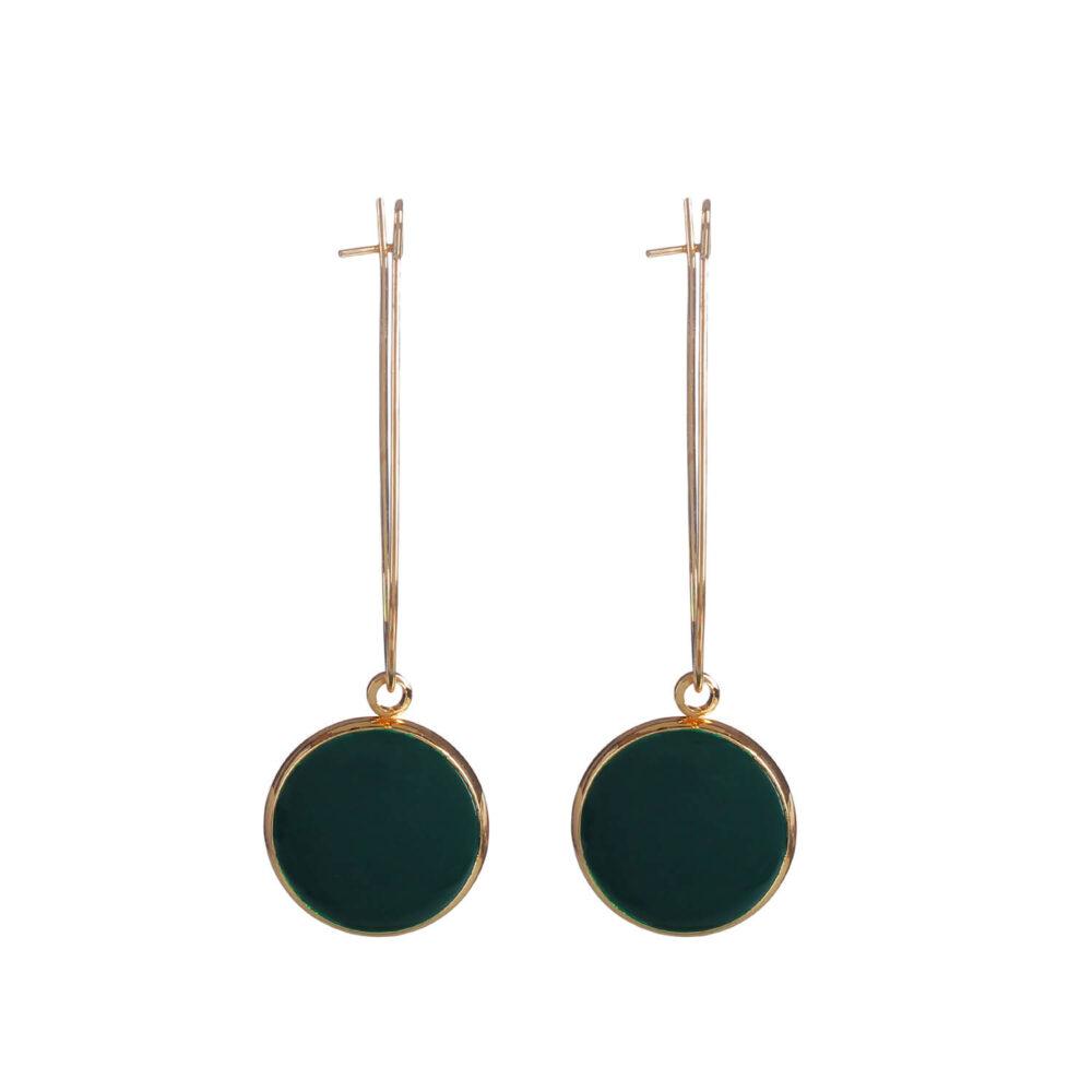 Golden Black Drop Earrings by Femnmas