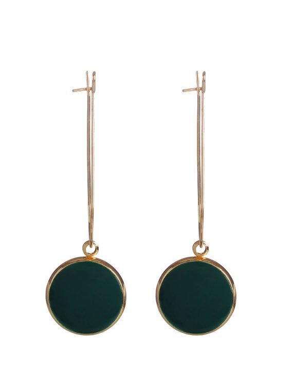 Golden Black Drop Earrings by Femnmas