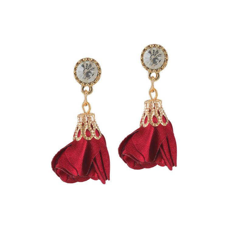 Red Petals designer earrings by femnmas